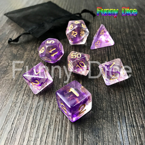 Polyhedral Nebula 7pcs/Set for D&d Game and BAG rpg game dice set Purple