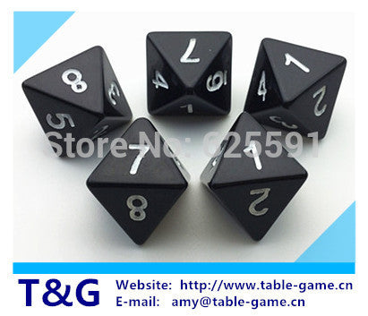 5pc T&G dice High Quality Black 8 Sided  Dice D8 Drinking GameTrink spiel