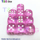 Colorful 14mm 10pcs/set Acrylic Transaprent d6 Dice,6 sided gambling red blue green yellow purple Dice for Drinking Board Game