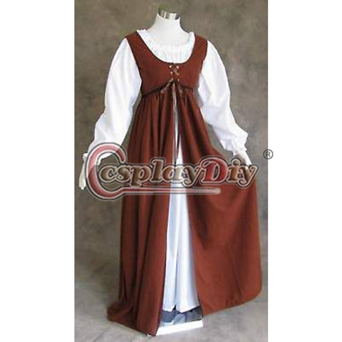 Custom Made Ren Faire Dress Medieval Renaissance Costume Larp Brown Adult Women Cosplay Costume For Halloween D0430