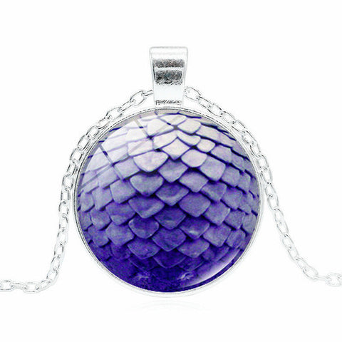 XUSHUI XJ Game of Thrones Pendant Necklace Women Movie Jewelry Dragon Egg Glass Cabochon Silver Chain Necklace New 2017