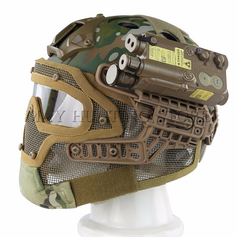 New Airsoft Paintball Tactical Helmet Protective Fast Helmet ABS Tactical Mask with Goggles for Airsoft Paintball WarGame