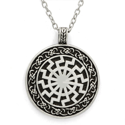 Black Sun Viking Pendant Viking Necklace Norse Viking Jewelry Sonnenrad with 23 inch chain