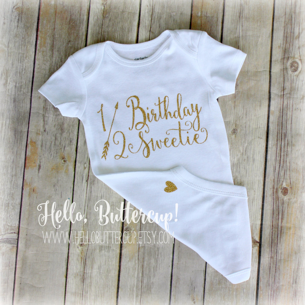 e7b9cbe774467 Half Birthday Bodysuit 1 2 birthday girl