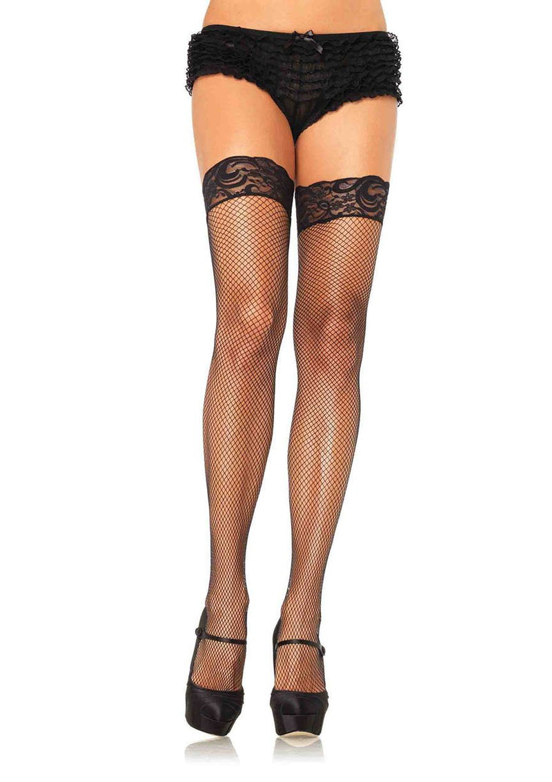Fishnet Thigh-Highs with Silicone Stay-Up Lace Top
