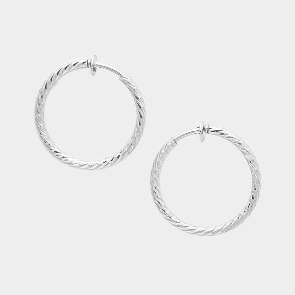 Clip-On Hoop Earrings in Silver