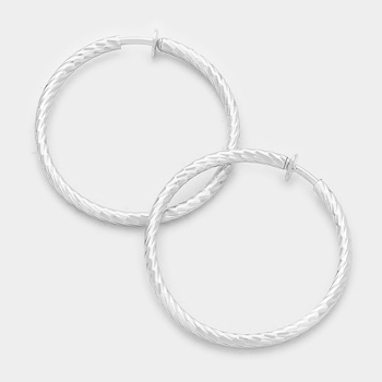 "2.25"" Textured Metal Hoop Clip-On Earrings (Pair)"