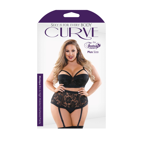 Monique Cage Bra & Garter-Panty Set (Black)