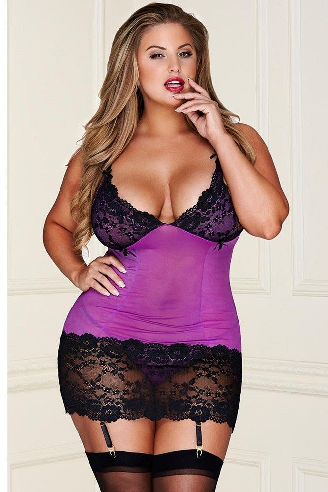 Mesh and Lace Chemise (Black and Purple)