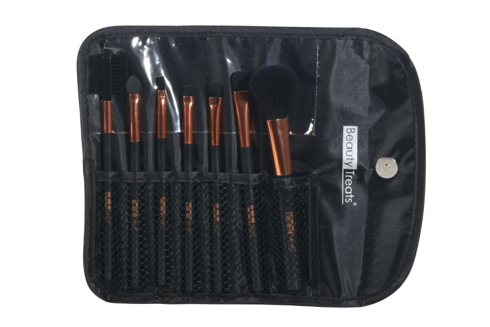 7-Piece Brush Set in Pouch (Black Pyramid/Copper)
