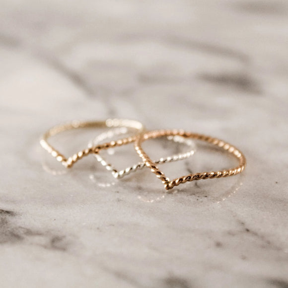 Geometric Chevron Ring