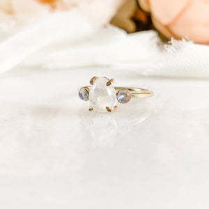 Pear Moonstone Three Stone Engagement Ring