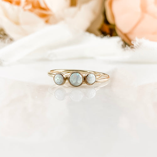 Simulated Opal Three Stone Engagement Ring