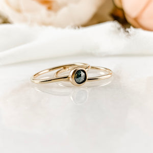 Blue Rose Cut Diamond Engagement Ring