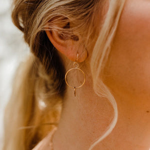 close up  of a long blonde haired woman's right ear and a pair of circle dangle earrings