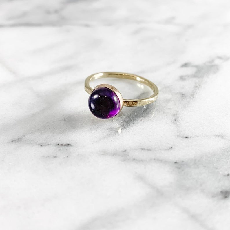 Amethyst 8mm Gemstone Ring