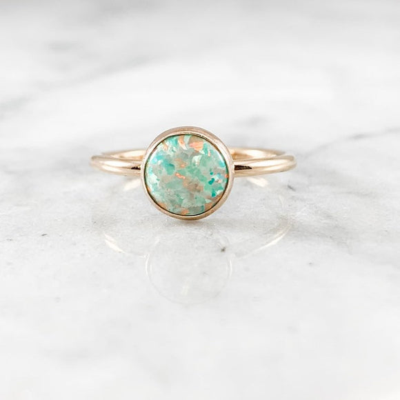 Teal Opal 8mm Gemstone Ring