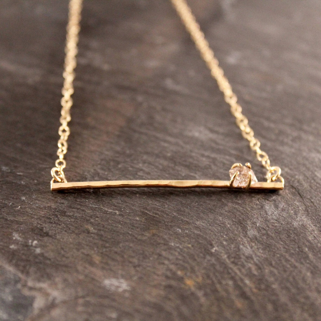 Herkimer Diamond Hammered Bar Necklace