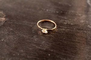 Herkimer Diamond Hammered Ring
