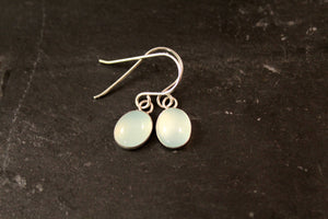 Sterling Silver Oval Gemstone Dangle Earrings