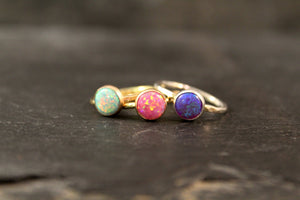 Purple Opal 8mm Gemstone Ring