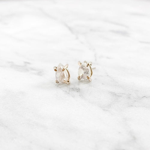 Rainbow Moonstone Pear Prong Setting Stud Earrings