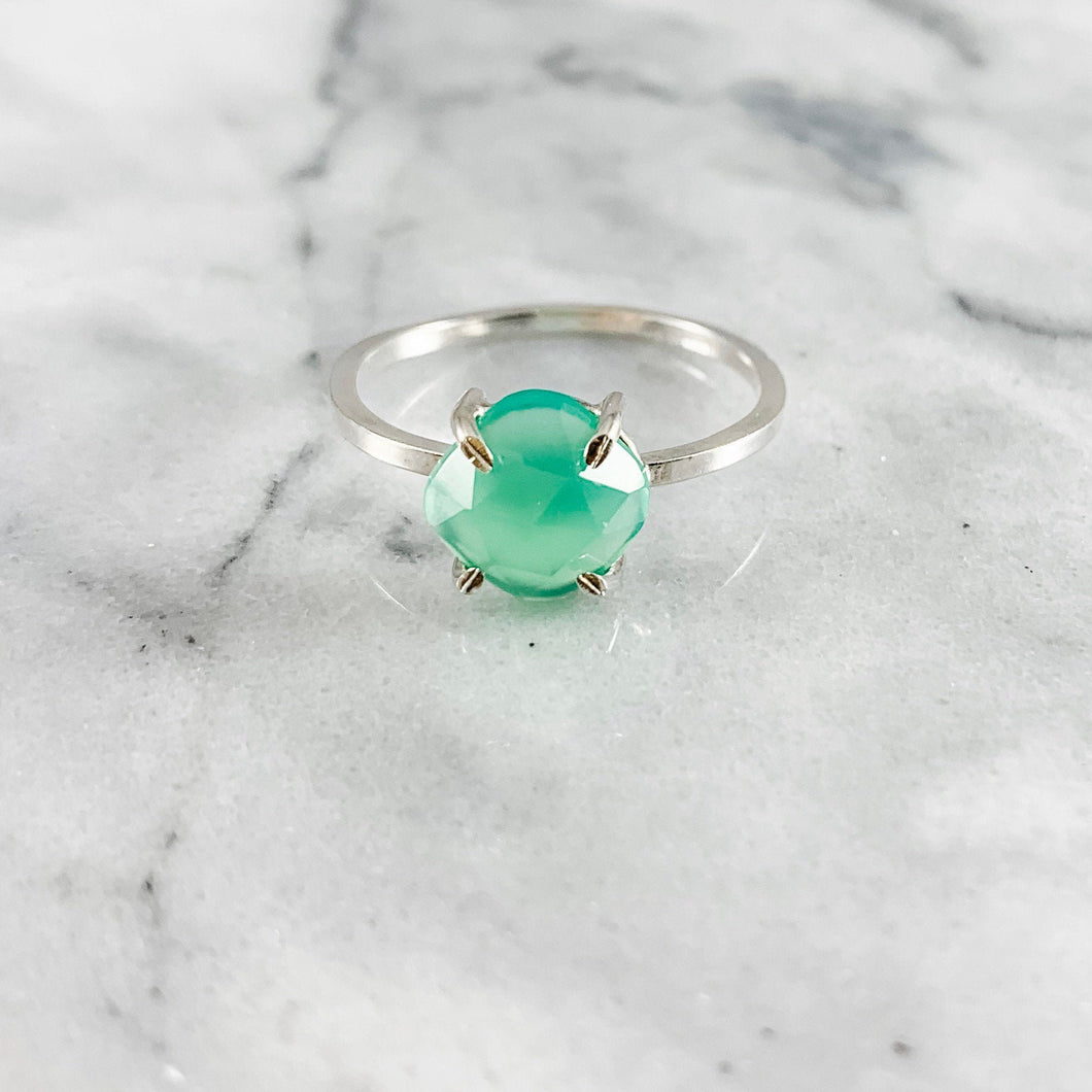 Chrysoprase Cushion Cut Prong Setting Ring