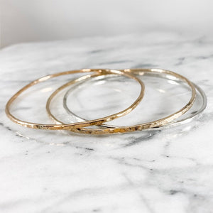 Mixed Metal Bangle Trio - 2mm