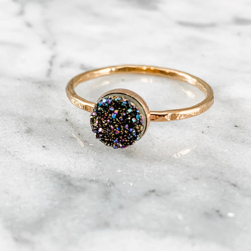 Rainbow Confetti Hammered Druzy Ring