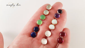 Gemstone Stud Bezel Earrings