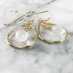 Rock Quartz Teardrop Earrings