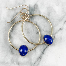 Load image into Gallery viewer, Oval Gemstone Hoop Earrings