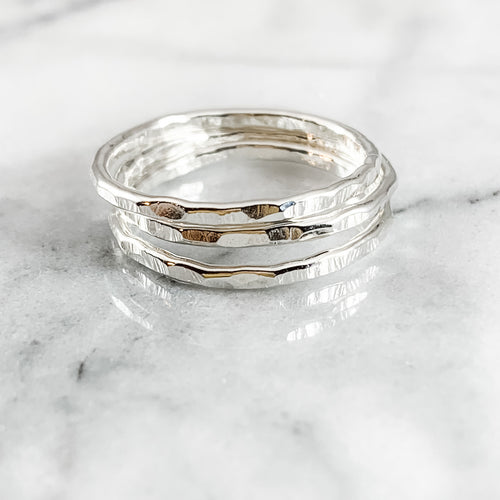 Thick Sterling Silver Stacking Ring Set 3+ RINGS