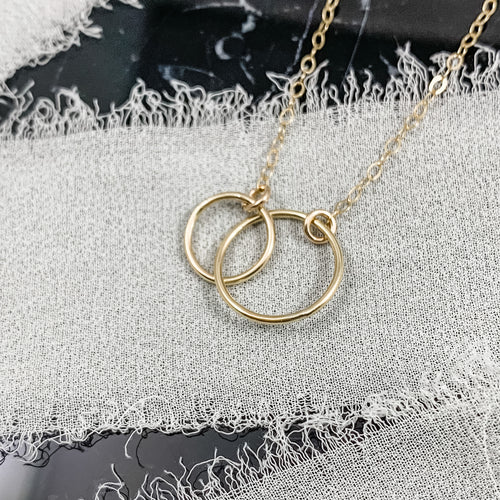 14K Gold Double Link Circle Necklace