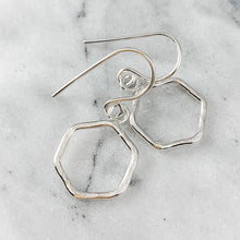 Load image into Gallery viewer, Hammered Hexagon Dangle Earrings