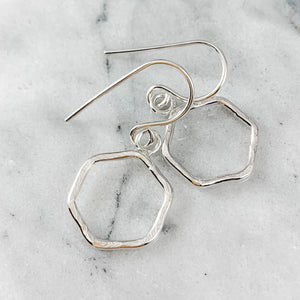 Hammered Hexagon Dangle Earrings
