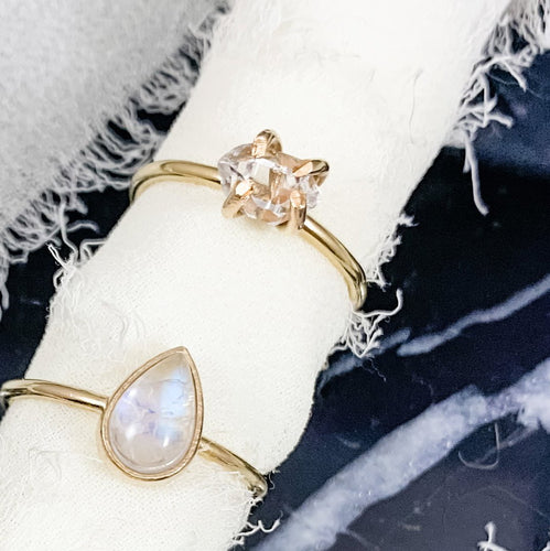 14K Gold Herkimer Diamond Ring