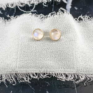 14K Gold 6mm Rainbow Moonstone Earrings