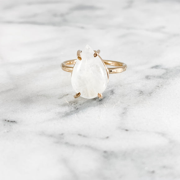 Pear Moonstone Gemstone Ring - Large