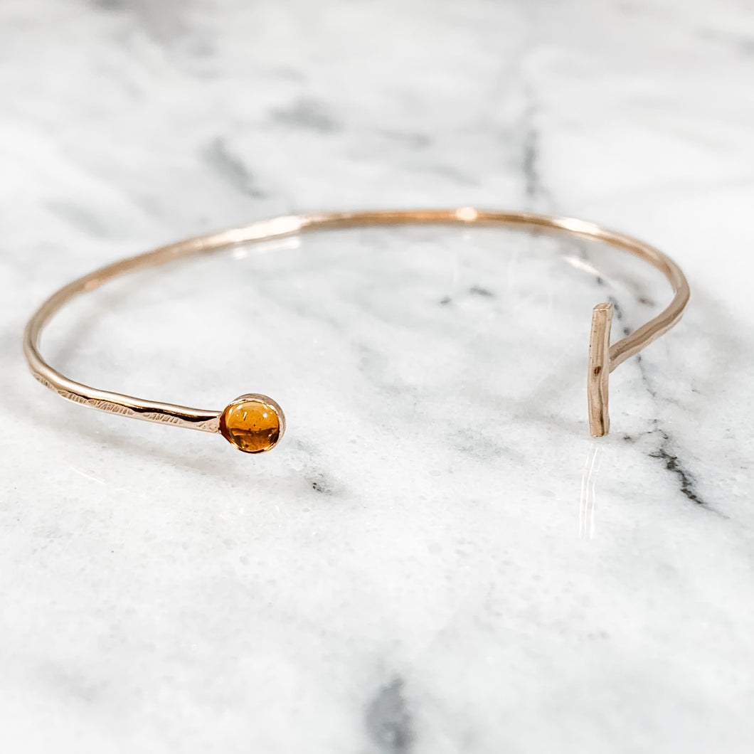 Hammered Birthstone Bangle Cuff
