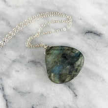 Load image into Gallery viewer, Labradorite Chunky Teardrop Necklace