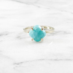 Turquoise Cushion Cut Prong Setting Ring