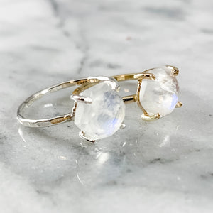 Hexagon Rainbow Moonstone Ring