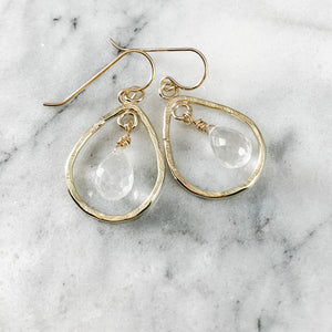 Rock Quartz Pear/Teardrop Earrings