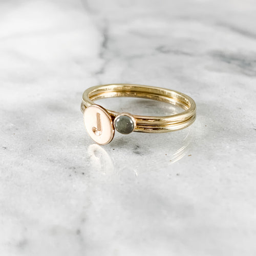 Initial Stacking Birthstone Ring Set