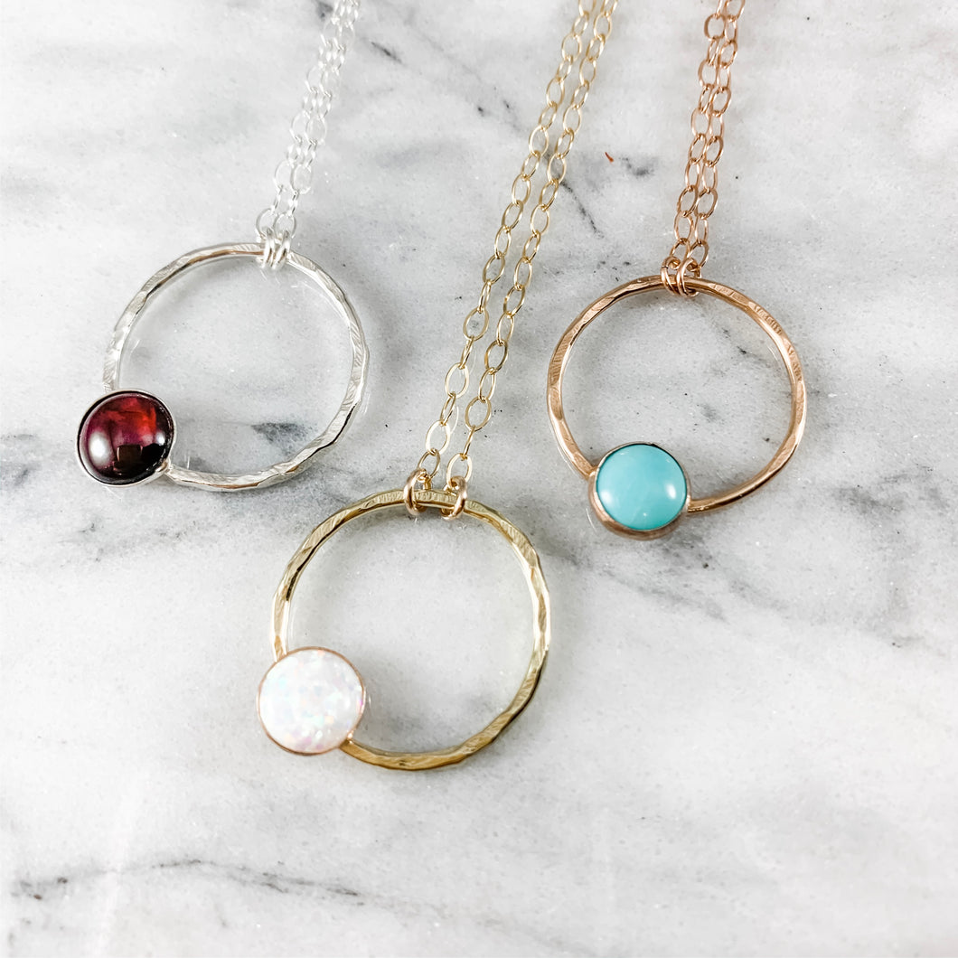 Circle and Gemstone Necklace