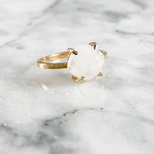 Rainbow Moonstone Cushion Cut Ring
