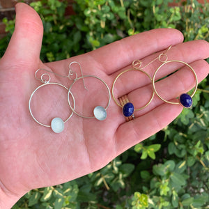 Oval Gemstone Hoop Earrings