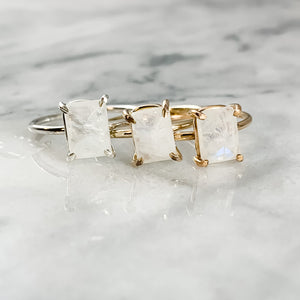 Emerald Cut Moonstone Ring