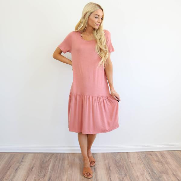 Dusty Pink Ruffle Dress